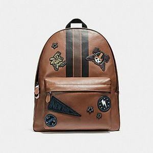 COACH CHARLES BACKPACK VARSITY PATCHES LEATHER